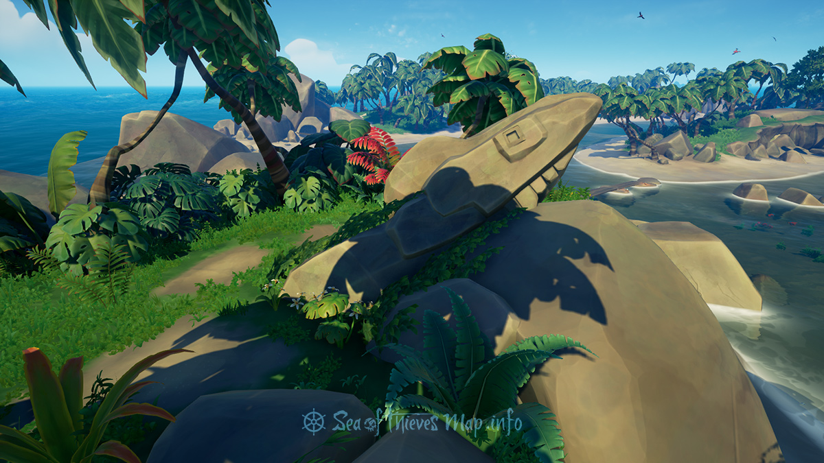 Sea Of Thieves Map - Seek the shark statue on the south outer ring, close to plunder, dig 5 paces south east, don't make a blunder - Riddle Step