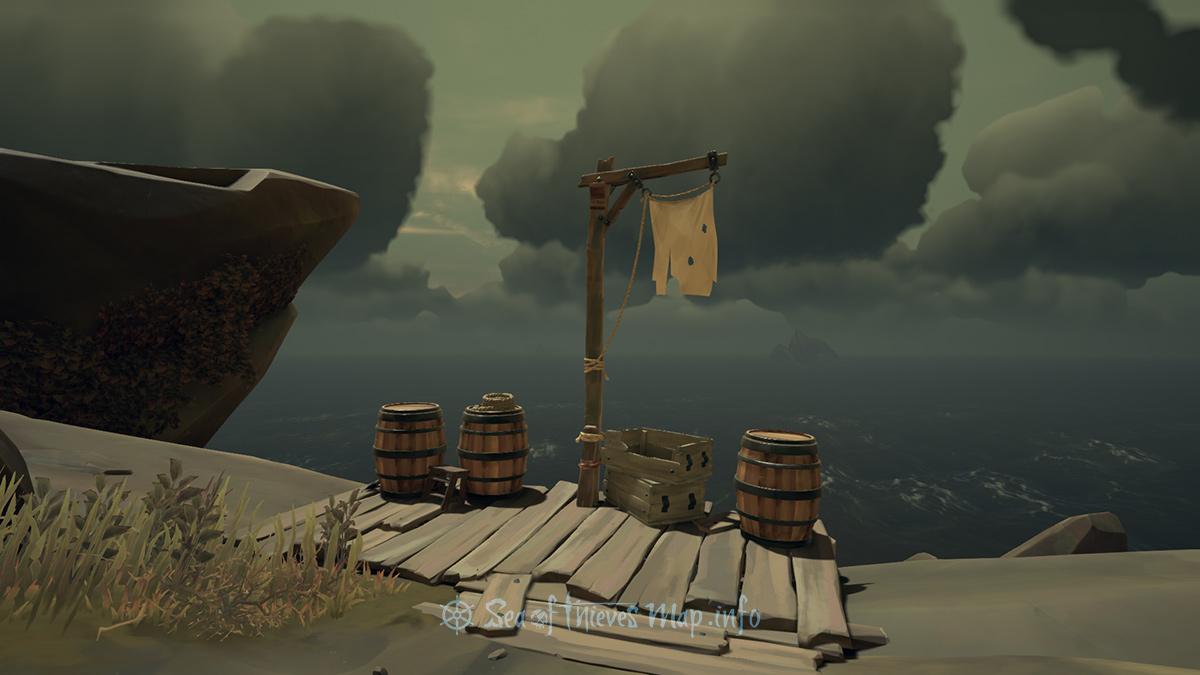Sea Of Thieves Map - Walk to the white flag up high then honest toil, 8 paces North-by-North west, your well-earned prize lies beneath soil - Riddle Step
