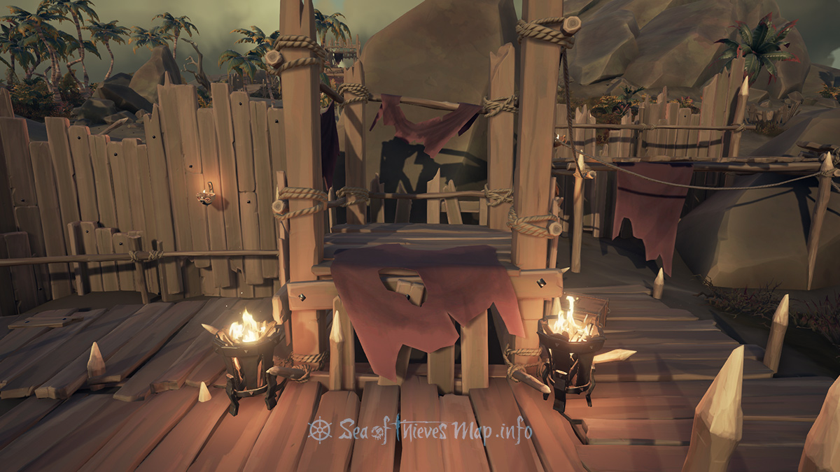 Sea Of Thieves Map - Searching for a hidden sign, upon the platform flanked by burning fires to the East raised lantern shine - Riddle Step