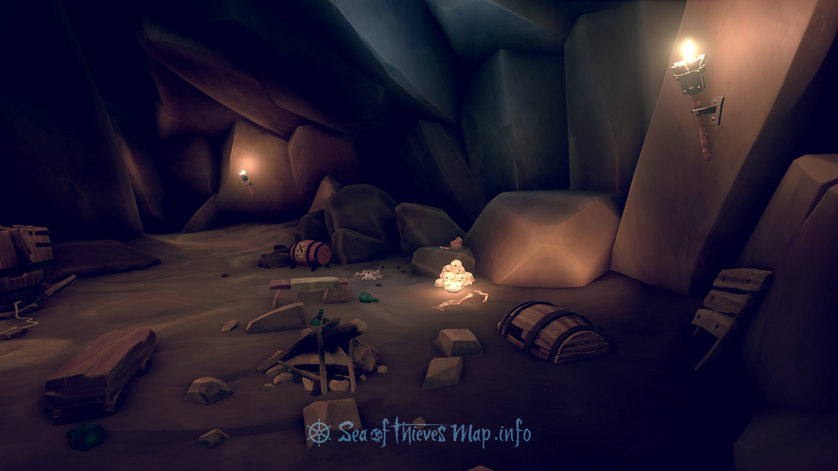 Sea Of Thieves Map - Discover the campfire in the cave near the lowest point, where light is dim, step 6 paces North, dig for a chest full to the brim - Riddle Step