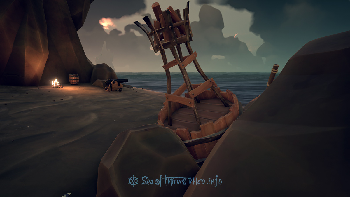 Sea Of Thieves Map - Find the washed up buoy on the South West beach, if I remember right, 5 paces South West, unearth my gold there you might - Riddle Step