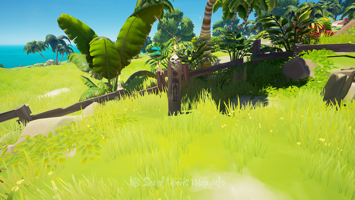 Sea Of Thieves Map - Find the skull of the candlemaker in the graveyard to the West, I wonder what this journey will yield, stride 8 paces South-by-South West then ye shovel wield - Riddle Step