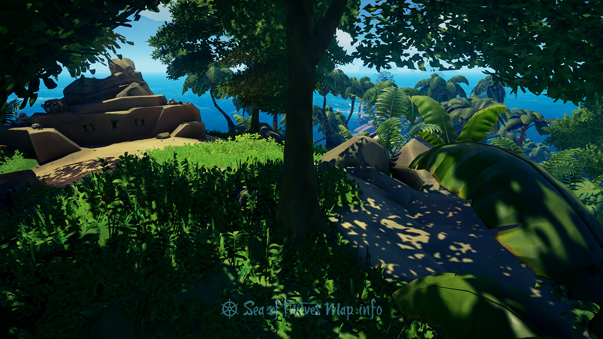 Sea Of Thieves Map - From the stone serpent at the highest point, this merry dance will be your worth, walk North-by-North east to the large tree and break the earth - Riddle Step