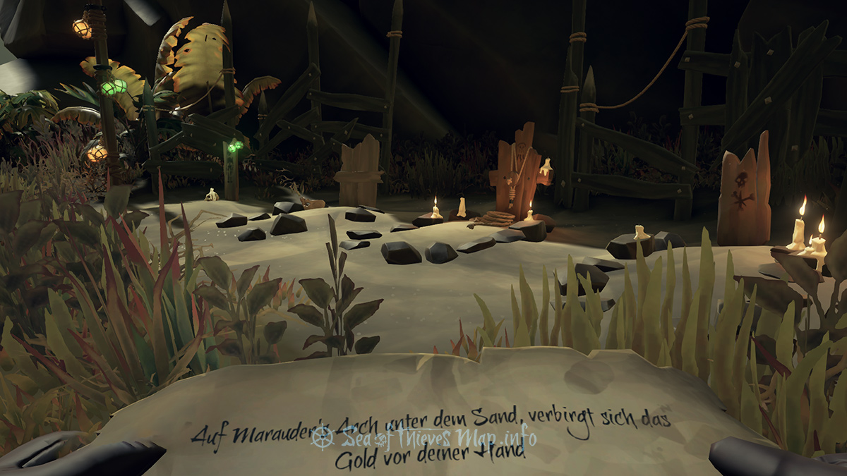 Sea Of Thieves Map - The graveyard looking out to the North shores seeks lantern light, discover it then make it bright - Riddle Step