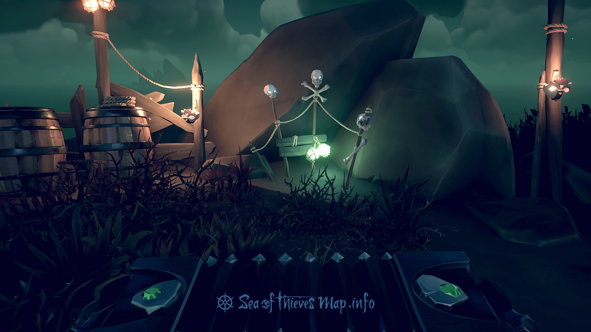 Sea Of Thieves Map - Find the three skulled totem high up overlooking the bay to the south east and sound a tune - Riddle Step